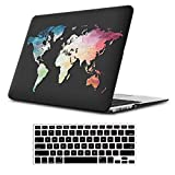 iLeadon MacBook 12 inch Case Model A1534 Protective Hard Case Soft Touch Ultra Thin Shell Cover+Keyboard Cover for MacBook 12 Inch with Retina Display, Black Map