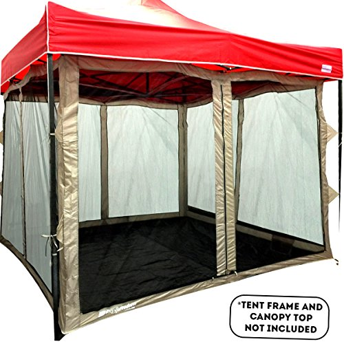 Screen Room attaches to any 10'x10' Easy Up Pop Up Screen Tent Room – 4 Walls, Mesh Ceiling, PVC Floor, Two Doors, Four Windows – Standing Tent – Tent Room - TENT FRAME AND CANOPY NOT INCLUDED