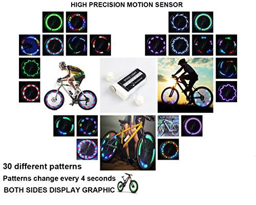 QANGEL Bike Wheel Lights,Waterproof Bike Spoke Lights Ultra Bright 14 LED Bicycle Wheel Lights,Safety Cool RGB Bike Tire Light for Kids Adults,30 Patterns Changes, Auto & Manual Dual Switch (2 Pack) by QANGEL (Image #6)