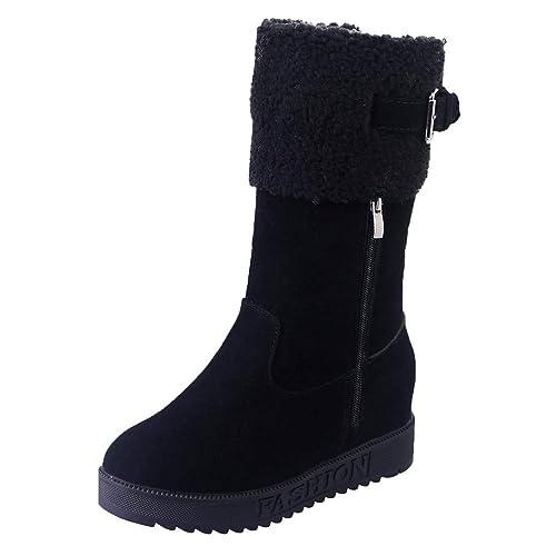 Zapatos Mujer Cuñas,Amlaiworld Botas de Nieve Correa de Hebilla Caliente para Mujer Zapatos de cuña Plano Señoras otoño Invierno Botines niña: Amazon.es: ...