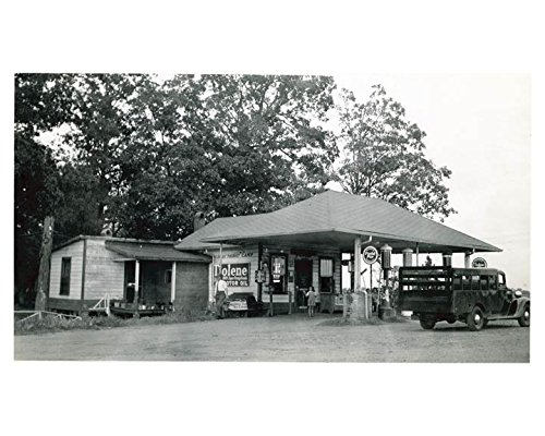 1941 Pure Oil Gas Station Photo Charlotte NC Gas Globe Tiolene