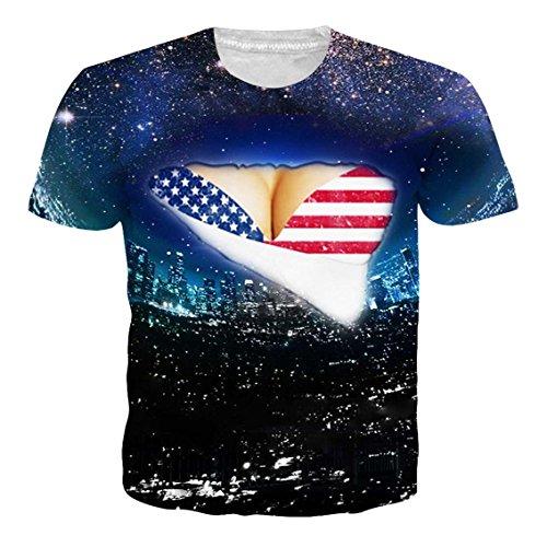Goodstoworld Summer Patriotic US Flag 3D Printed Mens Tee T-Shirt Short Sleeve Round Neck Costume,Us Flag,US M - Asian L -