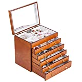 Large Wooden Jewelry Box Necklace Ring Armoire Crate on Dresser Chest Organizer Armoire11.6 inch x7.87 inch x11.2 inch
