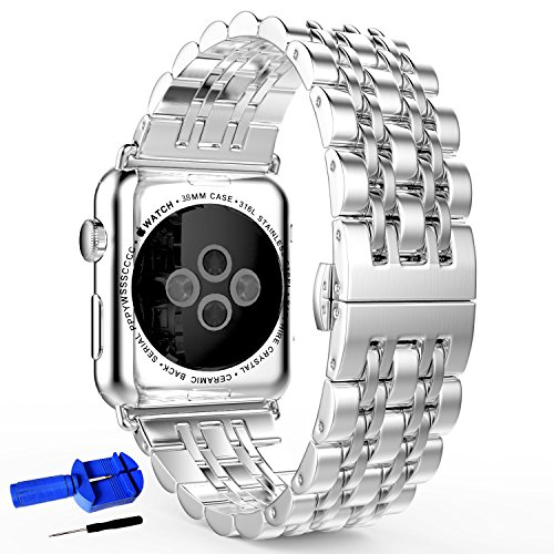 Pointer Band - HUANLONG Compatible with Apple Watch Band 42mm, Latest Solid Stainless Steel Metal Replacement 7 Pointers Watchband Bracelet with Double Button Folding Clasp for Apple Watch Iwatch (LS 42mm Silver)