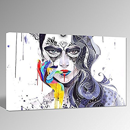 Abstract Women Face Canvas Art Colorful H Design Picture Stretched On Wood Sexy Lip Wall Art For Wall Decoration Contemporary Abstract Canvas Print