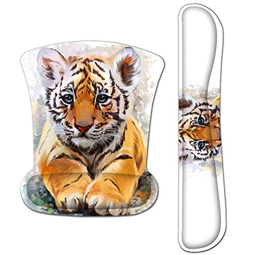HAPLIVES Ergonomic Keyboard Wrist Rest Pad and Mouse Pad Wrist Support Set with Non-Slip Backing Memory Form-Filled, Easy-Typing and Pain Relief for Gaming Office Computer Laptop (Cute Tiger)