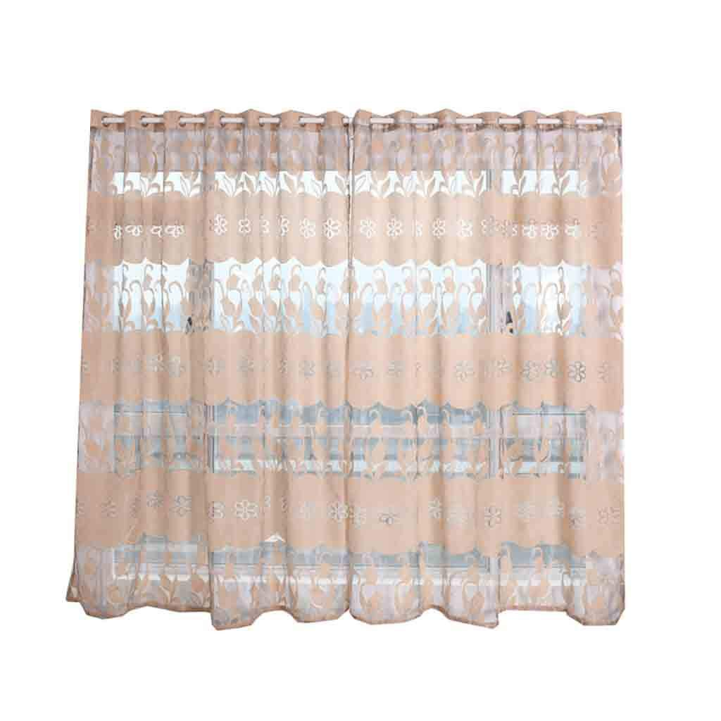 AHAYAKU Leaves Curtain Tulle Window Treatment Voile Drape Valance 2 Panel Fabric 2019 Summer New Beige by AHAYAKU