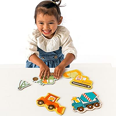 Petit Collage Beginner Jigsaw Floor Puzzle, Construction : Baby