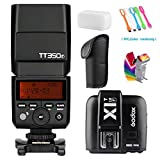 Godox TT350F 2.4G High-Speed Sync 1/8000s TTL GN36 Camera Flash Speedlite light + Godox X1T-F Wireless Trigger Transmitter for Fuji Cameras +Filters & USB LED Free Gift