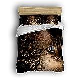 Family Decor Home Bedding Sets Cat And Broken Glass Style Print Bedspread Sets For Lovely Teen Girls 4 Pcs Comforter Sets Duvet Cover, Flat Sheet, Shams Set 4Pieces