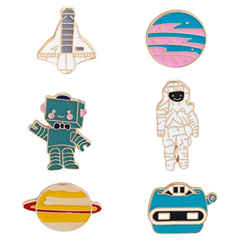 WINZIK Novelty Cartoon Lapel Brooch Pins Set 6pcs Creative Astronaut Robot Planet Pattern Enamel-liked Badges for Women Girls Child Clothes Backpacks Decor (Pin Lapel Planet)