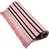 Creation core Bohemian Style Woven Floor Mat Area Rug with Tassel(Pink)