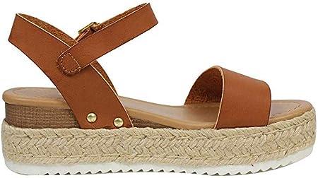 Sandalias Mujer Verano 2019 Plataforma Cuña PAOLIAN Sandalias Esparto Playa Tacon Medio Grueso Casual Fiesta Zapatos Alpargatas Vestir Elegantes Serpiente Tallas Grandes