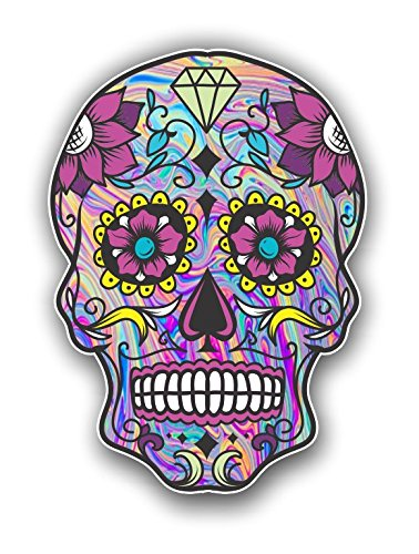 Vinyl Junkie Graphics Sugar Skull Sticker Dia de Los Muertos Decal Mexican Day of The Dead Stickers for Notebook car Truck Laptop Many Color Options (Tie Dye)