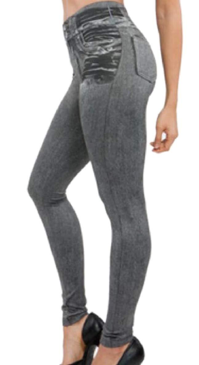 ONTBYB Womens Skinny Fit Printing Fake Jeans Slim Elastic Waist Legging Grey XS