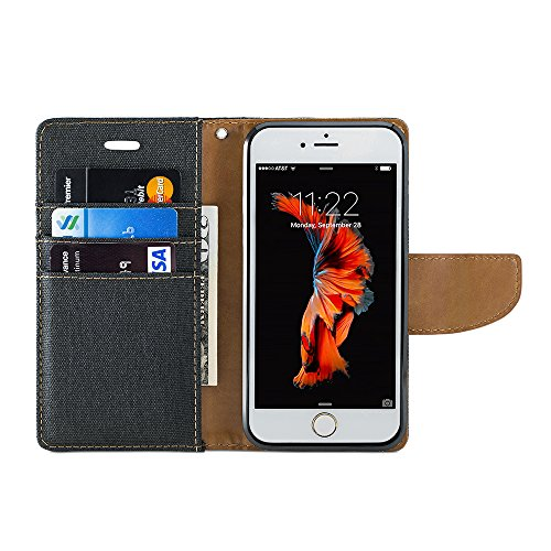 iPhone 6s Coque, GMYLE Wallet Case Classic pour iPhone 6s - Noir PU cuir Slim Stand Housse Etui