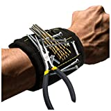 Zinuo Magnetic Wristband with Strong Magnets DIY Men Gifts for Screws,Nails,Bolts,Drill Bits,Fasteners,Scissors,and Other Handy Tools (Magnetic Wristband)