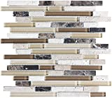 1 Square Foot - Bliss Cappucino Stone and Glass Linear Mosaic Tiles