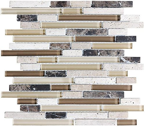 1 Square Foot - Bliss Cappucino Stone and Glass Linear Mosaic Tiles - Bathroom Walls/Tub Surround/Kitchen Backsplash