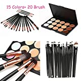 certainPL 15 Colors Contour Face Cream Makeup Concealer Palette Professional + 20 Brush ( 15 Palette Concealer +20pcs Makeup Brush Set ) (A)