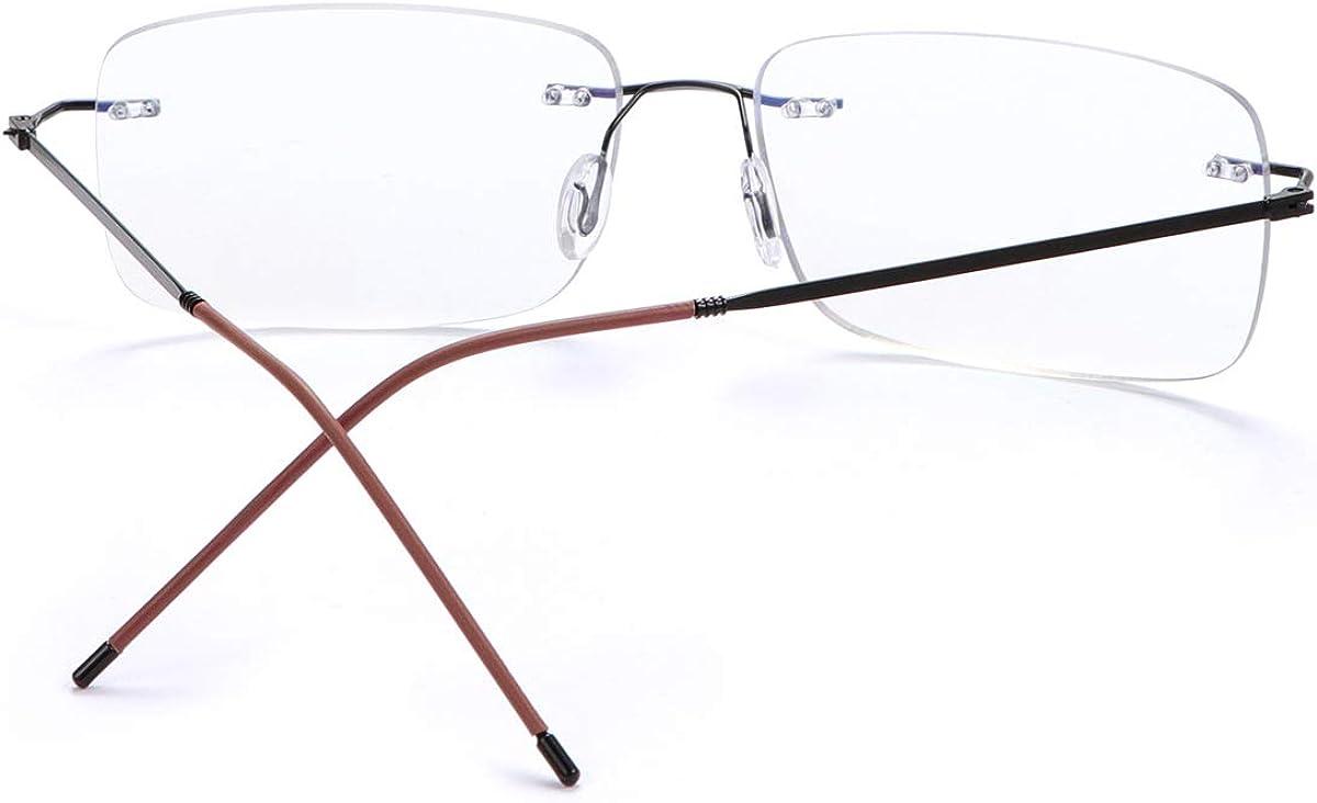 Rimless Progressive Multifocal Reading Glasses Anti Blue Light Computer Readers