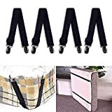 4PCS Bed Sheet Straps Fasteners Adjustable Mattress Sheet Suspenders Gripper Holders Elastic Band Clips Home Supplies for Satin Sheet Mattress Covers Blankets (Black)