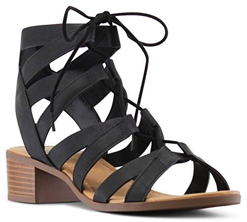 MARCOREPUBLIC Zurich Open Toe Gladiator Chunky Block Stacked Heels Sandals - (Black) - 8.5 by MARCOREPUBLIC (Image #1)