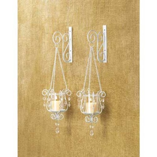 2 White Chic Shabby Hurricane crystal hanging Candle Holder Wall Sconce pair set -