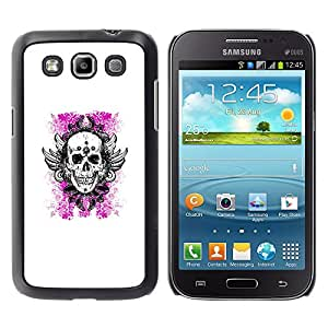 Shell-Star Arte & diseño plástico duro Fundas Cover Cubre Hard Case Cover para Samsung Galaxy Win / I8550 / I8552 / Grand Quattro ( White Pink Floral Death Skull Wings )