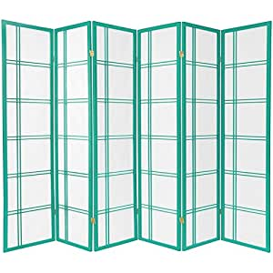 Oriental Furniture DCSP-6P-Green 6-Feet Double Cross Japanese Shoji Folding Privacy Screen Room Divider, 6 Panel Teal Green