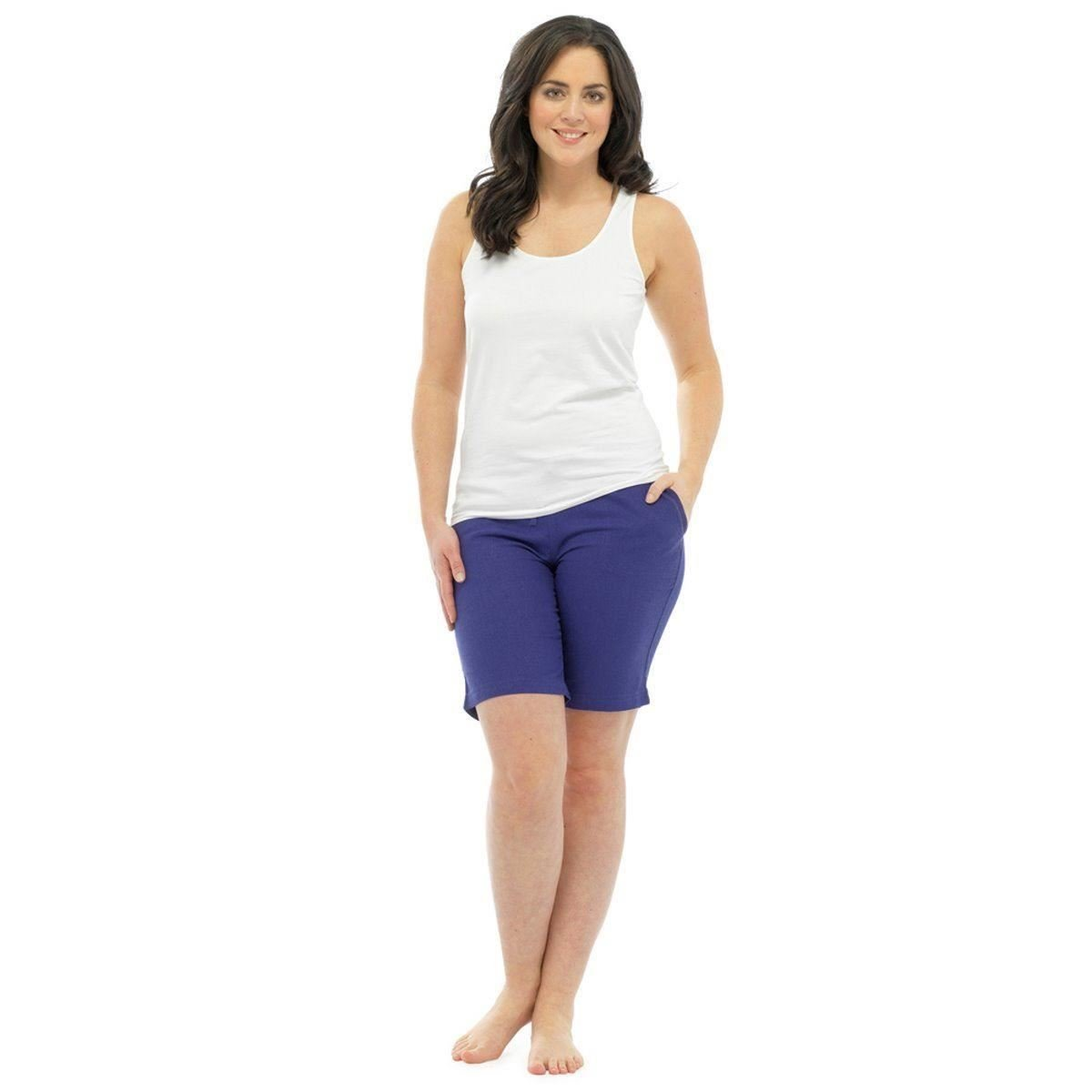 Womens Linen Shorts With Elasticated Waist Holiday Beach Hot Pants Girls Size Damenmode