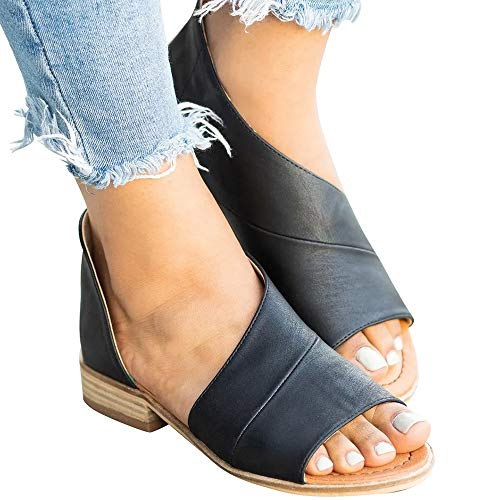 - SNIDEL Womens Faux Leather Sandal Open Toe Flats Sip on Summer Casual Low Heels Shoes Black1 8.5 B (M) US