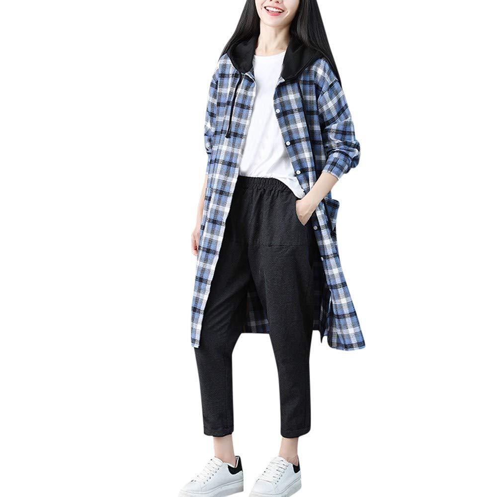 Franterd Women Plaid Cardigan Plus Size Casual Boho Front Openning Pocket Blouse Sports Long Shirt Tops Coat