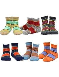 TeeHee Kids Boys Sports Stripe Cotton Crew Socks 6 Pair Pack