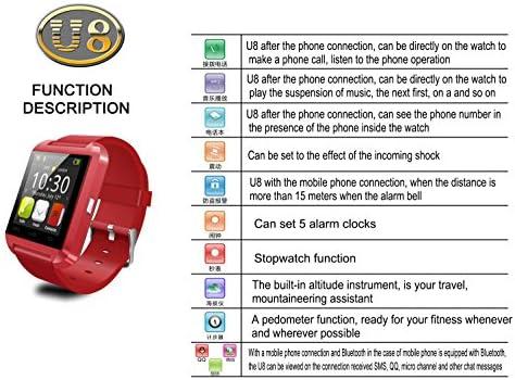 Amazon.com: u8 Hombres y Mujeres Reloj Inteligente Bluetooth ...