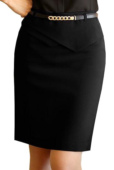 abd13e5002 Nimpansa Women Pencil Skirts Solid Belted Mini Short Tight Work Skirt Black  XS