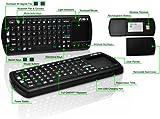 FAVI FE02 Bluetooth Wireless USB Mini Keyboard w Mouse Touchpad, Laser Pointer, Backlit Keys - US Version (Includes Warranty) - Black (FE02BT-BL)