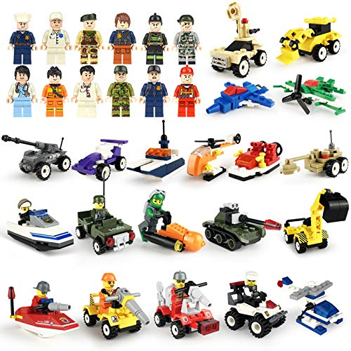 lmoulse 20pcs Military Toy Vehicles + 19pcs Different Little People Figures Occupations Character Toys Building Brick Sets, 3D Assembly Cars ,Mini Figures Bulk Party - Building Vehicle Assembly
