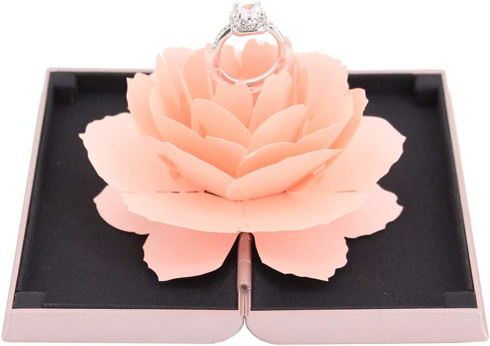 Naimo Creative Rose Engagement Ring Box Coin Jewelry Gift Box