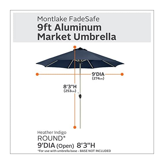 Classic Accessories Montlake FadeSafe 9-Foot Round Aluminum Patio Umbrella, Heather Indigo - Montlake Fadesafe water-repellant, solution-dyed fabric is both stylish and engineered to resist fading and retain vibrancy 8 aluminum ribs provide for extra strength and wind resistance. Constructed with high-grade 100% virgin aluminum, stainless steel hardware and ABS plastic for lasting durability. Powder coated eggshell white finish Canopy provides maximum protection from the sun delivering an independently verified UV Protection Factor (UPF) of 50+ and blocking 100% of UV penetration (A & B rays) - shades-parasols, patio-furniture, patio - 511Vt00oSbL. SS570  -
