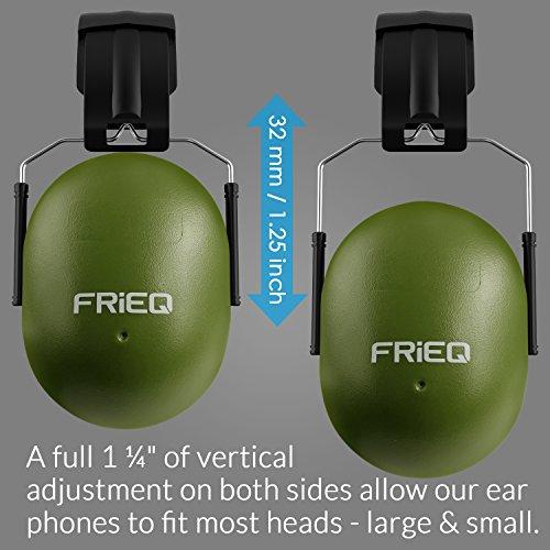 FRiEQ 37 dB NRR Sound Technology Safety Ear Muffs with LRPu Foam for Shooting, Music & Yard Work, Green by FRiEQ (Image #6)