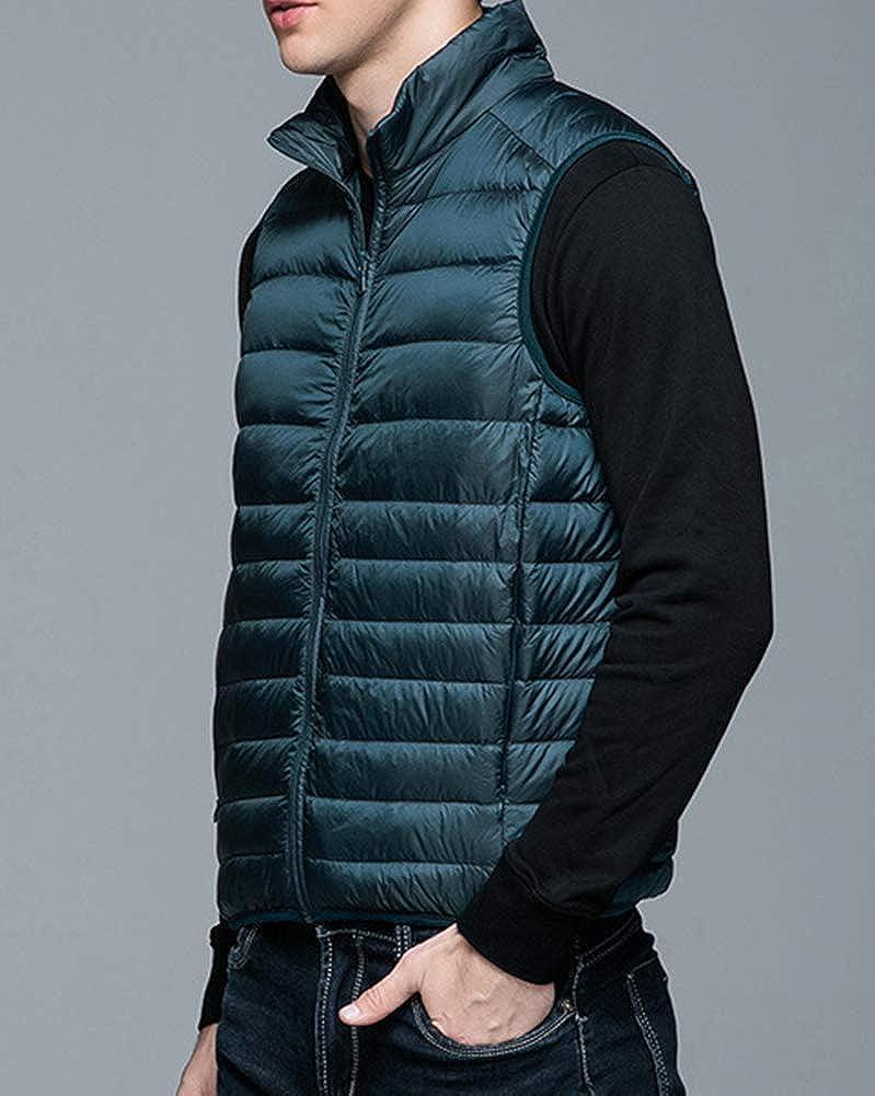 Homme Casual Chaud Doudoune Gilet sans Manche Blouson Veste Manteau d'hiver Lac Bleu