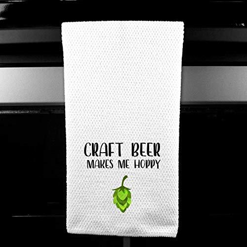 Craft Beer Makes Me Hoppy Kitchen Bar Tea Towel Gift for Him from DashaAlexander