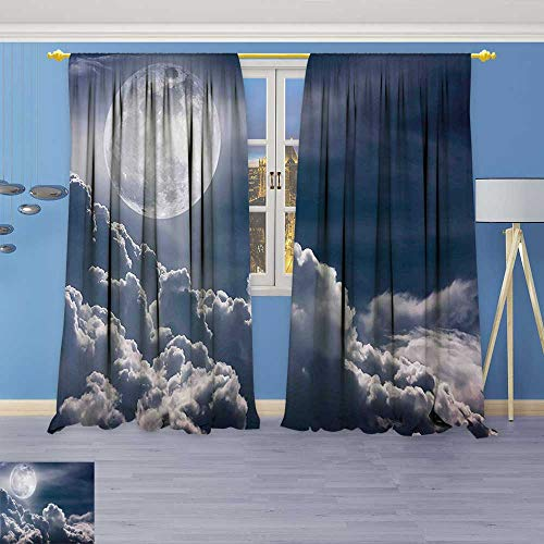 Room Darkening Thermal Insulated Blackout Grommet Window Curtain,Celestial Photo Big Full Moon and Fluffy Clouds Majestic Dramatic Idyllic Dark Blue,for Living Room (Celestial Beaded Curtain)
