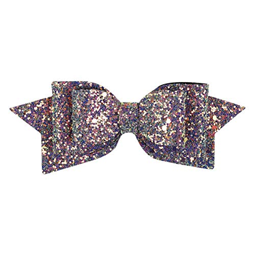 Sequins 5 alligator clip hair style Baby girls Nylon mesh bow hair clips -WE85 (Color - 587)]()