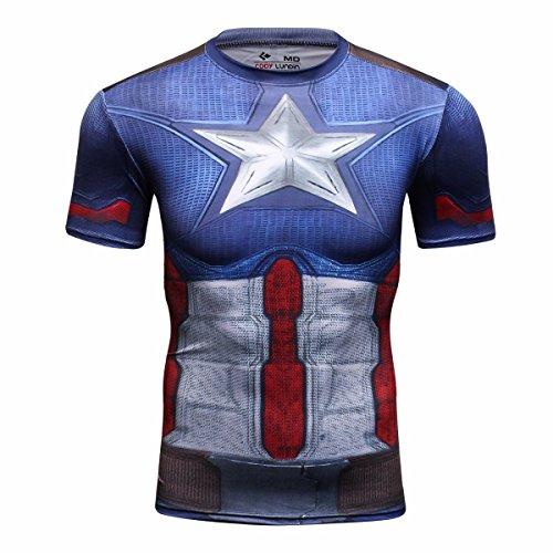 (Red Plume Men's Film Super-Hero Series Compression Sports Shirt Skin Running Short Sleeve Tee (M, Leader D))