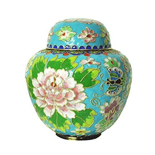 MUJING Pet Memorials Elite Cloisonne Floral Pet Cremation Urn, 30 Cubic Inch, Light Blue