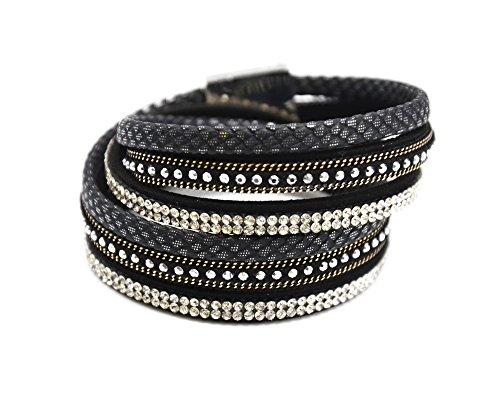 BC1585F - Bracelet Double Tour Multi-Rangs Ecailles, Clous, Strass et Chaînes Noir - Mode Fantaisie