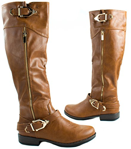 Faux Chestnut Boots and Golden Leatherette Buckles High 09 Montana with Zipper Bamboo Women's Knee RxwqFtTO