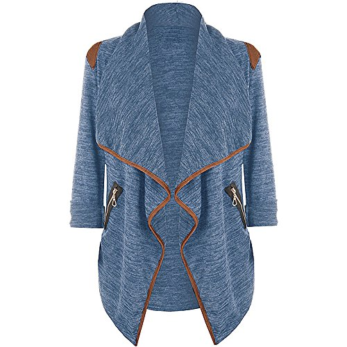 JESPER Womens Winter Knitted Casual Long Sleeve Waterfall Collar Cardigan Jacket Outwear Blue